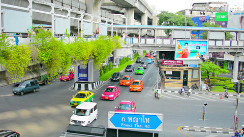 BANGKOK. THAILAND - 22 NOV 2013: Traffic on multi- Footage