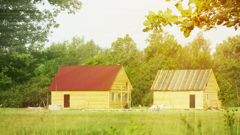 Wooden rural houses under construction Footage