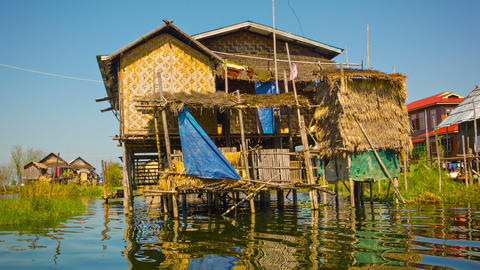 Traditional house on Inle Lake. House on stilts Live Action