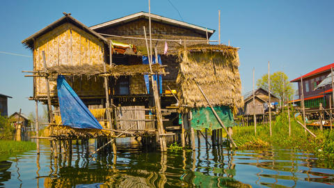 Traditional house on Inle Lake. House on stilts Stock Video Footage