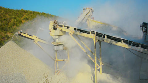 Small Factory For The Production Of Gravel For Roa stock footage