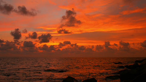 Blazing sunset over tropical ocean Footage