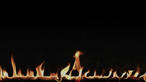 Fire flame border on a black background Footage