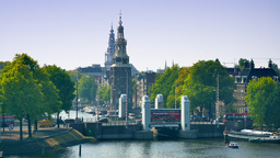 4K Amsterdam Cityscape With Montelbaanstoren Tower stock footage