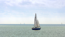 4K serene seascape with yacht sailing Footage