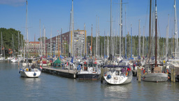 4K view on the harbor in Hoorn, Netherlands Footage