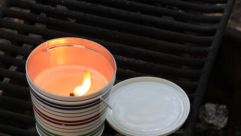 citronella candle burning Stock Video Footage