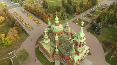 Beautiful church in a big city. Aerial shot Footage