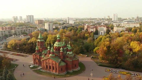 Orthodox Church. Aerial shot Footage