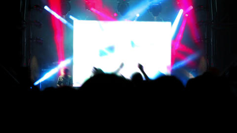 Concert Stage And Audience Silhouettes stock footage