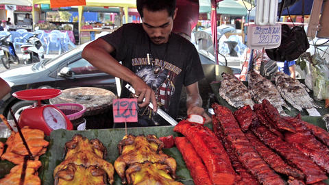 Thailand, Pattaya. Traditional street food, vendor Footage