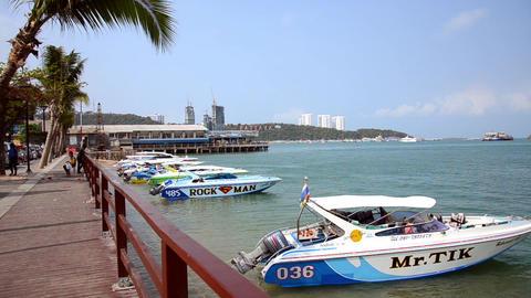 Thailand, Pattaya. Speedboats At Anchor stock footage