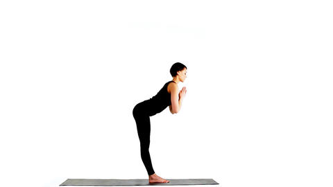 Beauty woman - exercise circle of yoga asana Footage