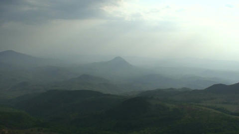 Malawi: panorama of mountains at sunset Stock Video Footage