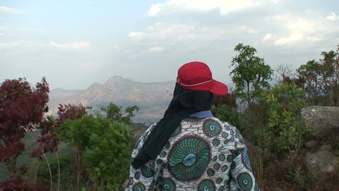 Malawi: man watching mountains Footage