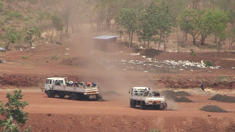 Malawi: african workers unloading trukcs Stock Video Footage