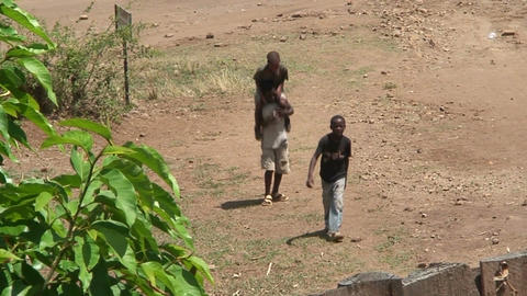 Malawi: african children approaching the wall Stock Video Footage