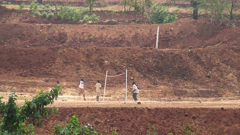 Malawi: children playing volleyball Stock Video Footage