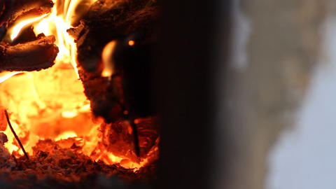 beautiful fire in the fireplace Footage