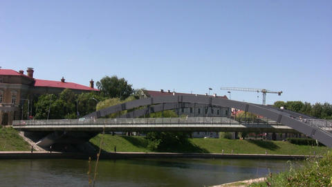 Bridge over the river in Vilnius Stock Video Footage