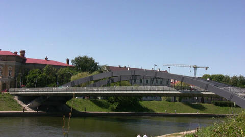 Bridge over the river in Vilnius Stock Video Footage