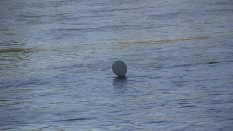 White balloon in a river 2 Stock Video Footage