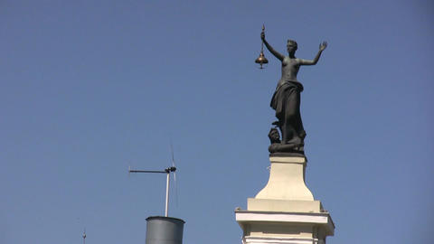 Lady Justice and windmill Stock Video Footage