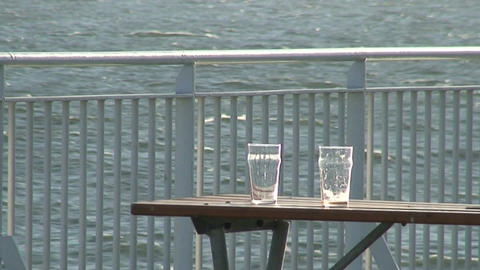 Two empty glasses on the table of cruise ship Footage