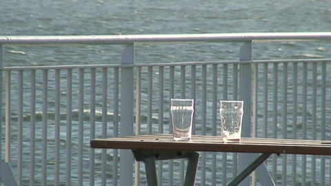 Two empty glasses on the table of cruise ship Stock Video Footage