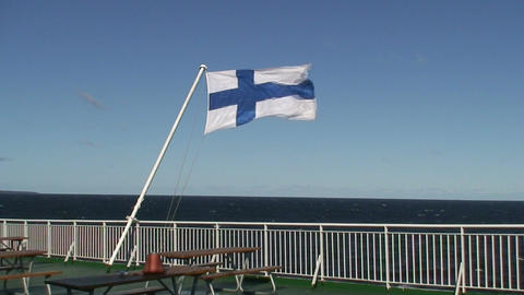 Finnish flag on passenger cruise ship two Stock Video Footage