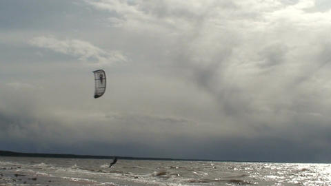 Kite surfing three in the Baltic sea Footage