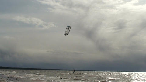 Kite surfing three in the Baltic sea Stock Video Footage