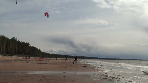 Kite surfing four in the Baltic sea Stock Video Footage