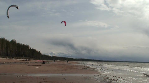 Kite surfing four in the Baltic sea Footage