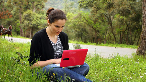 beautiful girl using computer in countryside, phaeton passing behind Footage