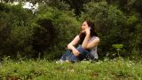 Beautiful Girl Talking On The Phone In Countryside 2 stock footage