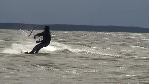Kite surfing nine in the Baltic sea Stock Video Footage