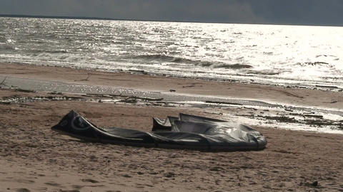 Kite on seashore Stock Video Footage