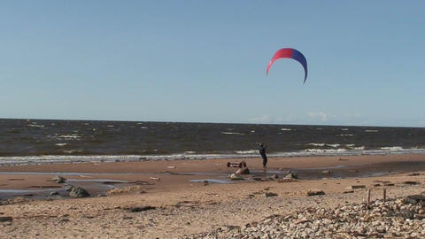 Kite and tricycle near the sea two Footage