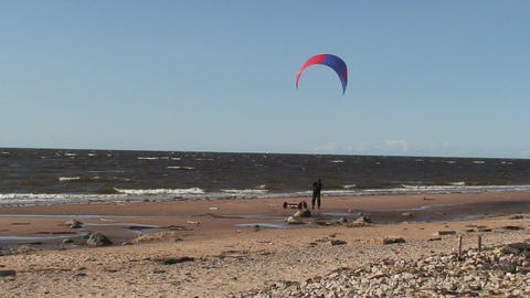 Kite and tricycle near the sea two Stock Video Footage
