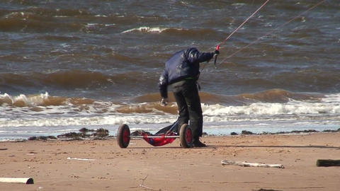 Kite and tricycle near the sea three Stock Video Footage