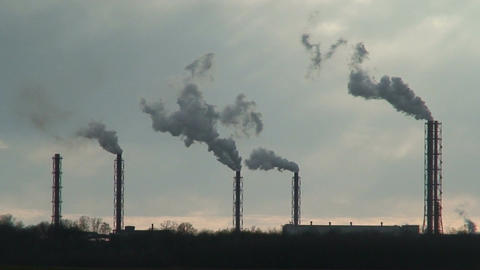 Smoke from chemical factory chimneys one Stock Video Footage