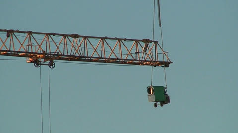 Arrow of a crane and hanging transformer, view Footage