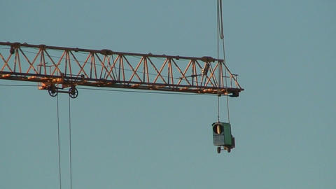 Arrow of a crane and hanging transformer, view Stock Video Footage