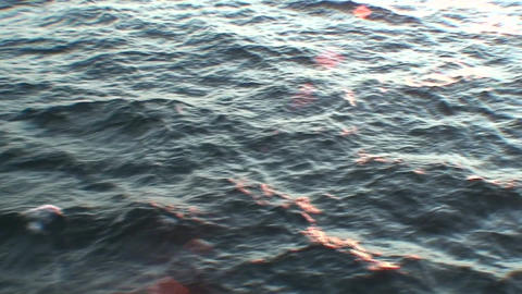 Sunrise and water horizon from moving ship two Footage