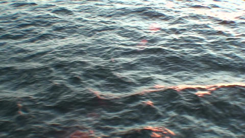 Sunrise and water horizon from moving ship two Stock Video Footage