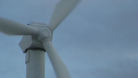 Wind power electric station wings, close-up Footage