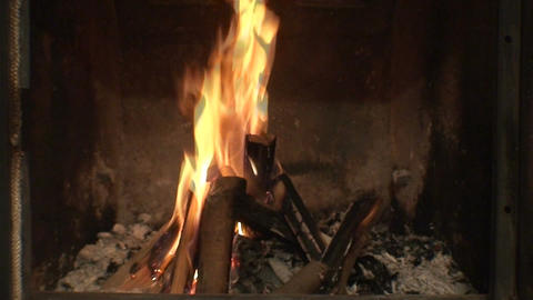 Fireplace burning flames close-up Stock Video Footage