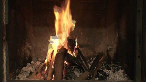 Fireplace burning flames close-up Footage