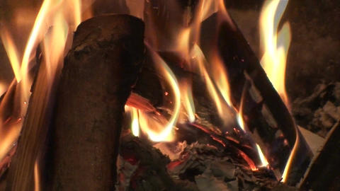 Seamless fireplace burning flames one Footage